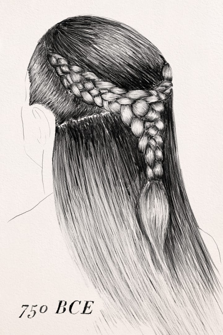Hair Braiding History Past Braid Techniques - Drawing a hairstyle