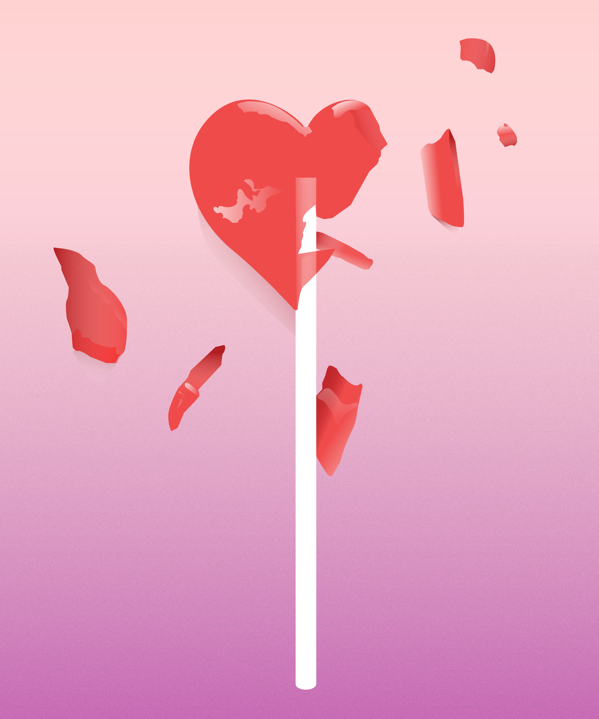 shattered heart-shaped lollipop