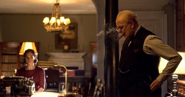 Gary Oldman shines brightly as Winston Churchill in 'Darkest Hour'