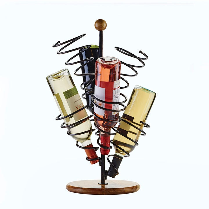 this spiral rack makes storing wine upside down look cool