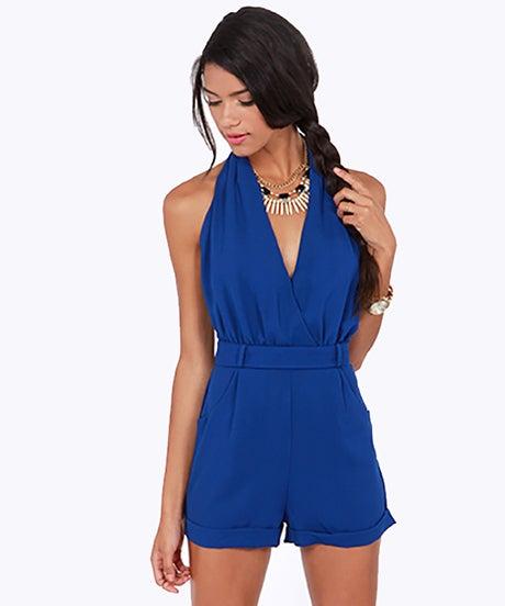 LULUS Exclusive Halt Who Goes There Royal Blue Romper