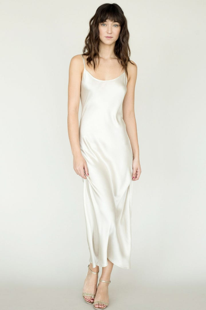 sometimes your showstopping outfit is a simple slinky slip dress
