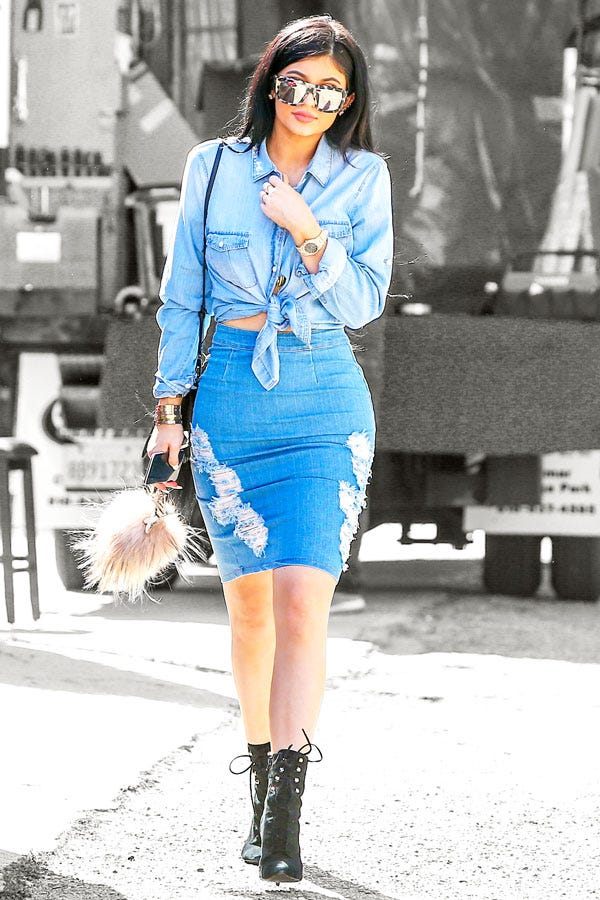 Kylie Jenner Denim Pencil Skirt Chambray Top Outfit