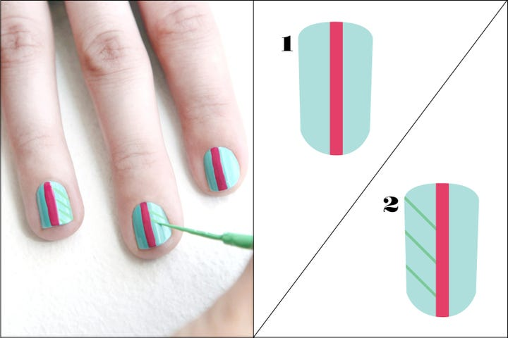 Palm tree finger art design decorate your digits start off by painting all of your nails with the aqua polish use a nail art brush to paint a thick fuchsia stripe down the center of each nail prinsesfo Gallery