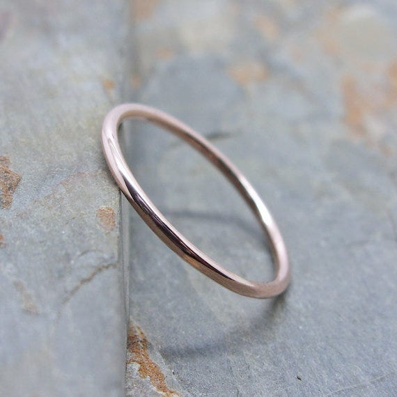 brightsmith simple thin 14k rose gold wedding band 100 available at etsy - Etsy Wedding Rings