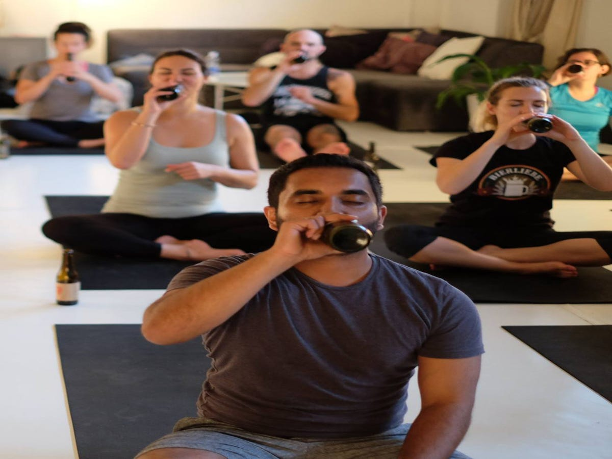 Image result for beer yoga