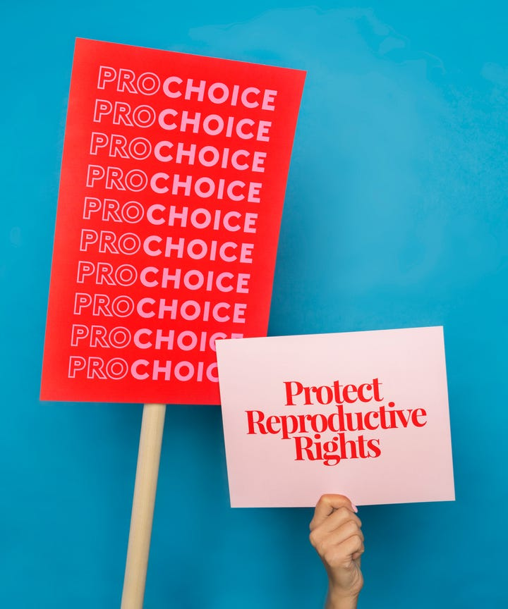 Pro choice and protect reproductive rights signs