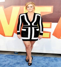 There were a few moments during the awards show in which Amy Schumer made us cringe. But, on the red carpet, not so much. She started off the evening in a long-sleeved, graphic Balmain look that was super-flattering, refined, and maybe even a bit risky. In retrospect, not the riskiest thing she did all night.For A Similar Style Try:McQ Alexander McQueen Two-Tone Stretch Jersey Mini Dress, $645 $322.50, available at TheOutnet.