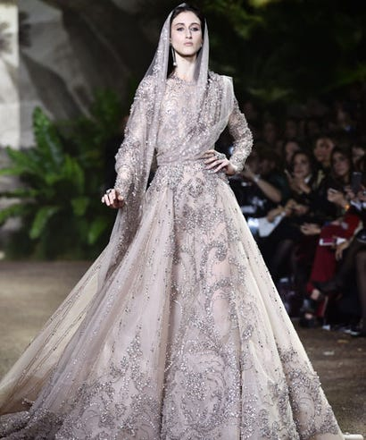 Elie saab 300 000 couture wedding dress for Wedding dress shops reading