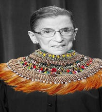 What to wear while taking over the Internet... We can't decide if we like Ruth Bader Ginsblog or  Notorious R.B.G. better. Either way, #Winning.Anita Quansah London Ara Necklace, $4177, available at Luisaviaroma.