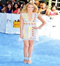 At first glance, this Peter Pilotto minidress just looks like a printed — and very pretty! — shift dress. But, all those little bits and bobs are actually individual embellishments. It's a total work of art, and we're stoked that so many celebs are celebrating Pilotto on the red carpet. Paired with sky blue Stuart Weitzman shoes, this look is feminine and soft with a little bit of spunk.For A Similar Style Try:Peter Pilotto Phoenicia Embellished Guipure Lace And Tulle Mini Dress, $9000, available at Net-A-Porter.