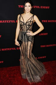 celebrity corset top harness dress trend