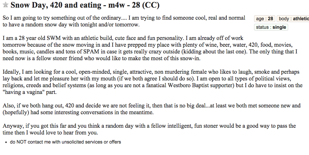 Craigslist hook up slang