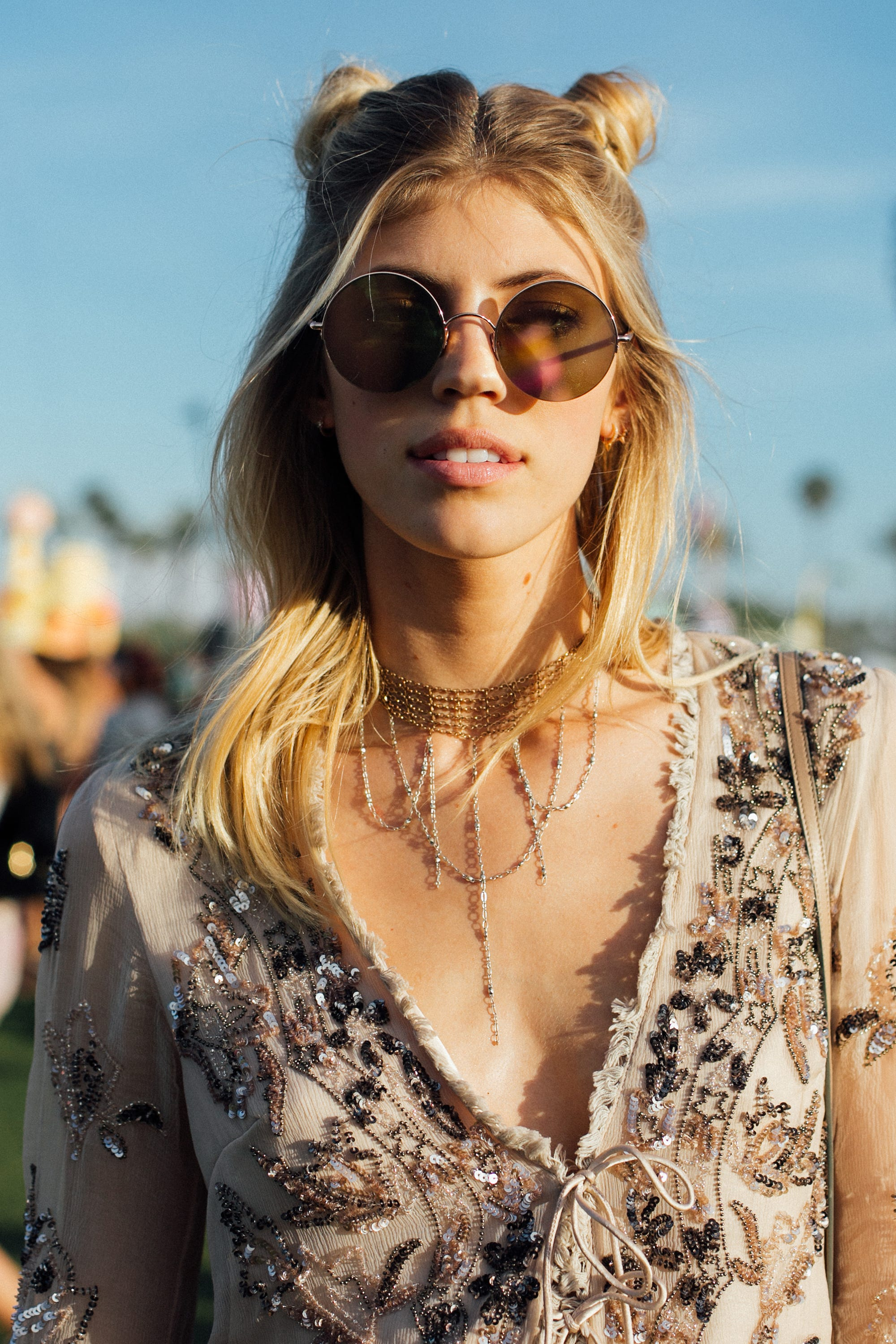 Coachella Hair Trends Space Buns Hairstyle Look