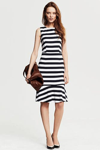Banana-Republic-Navy-Stripe-Ponte-Flounce-Dress,-$130