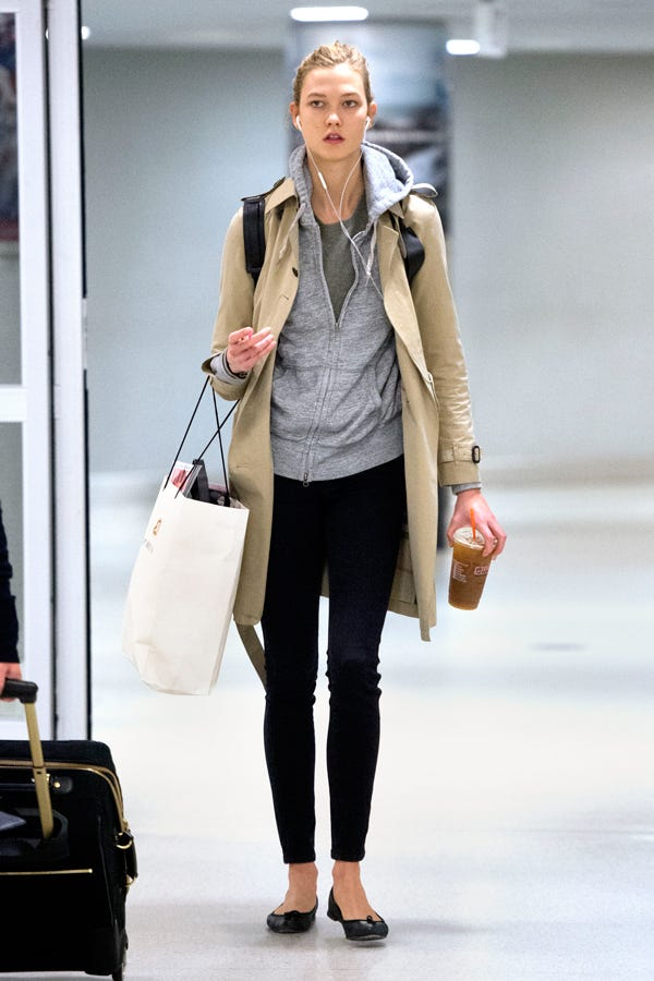 Karlie Kloss Trench Coat Airport Travel Outfit