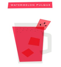 Watermelon Pulque Serves: 1Supplies & Ingredients Mug Pint glass Shaker with strainer Half of a grapefruit Chili salt Ice 1 oz sour mix 1 1/2 oz watermelon puree Cube of watermelon 1 oz pulque 2 oz blanco tequila Star anise salt  Sour Mix: Mix equal parts simple syrup with fresh lime juice.Directions 1. Wet rim of mug with grapefruit. Dust half of the rim with chili salt. Set aside. 2. Fill pint glass with ice. Add watermelon puree, sour mix, pulque, and tequila. Cover pint glass with shaker, and shake it up for about 10 seconds.  3. Strain mixed drink into mug. Garnish with watermelon cube. Sprinkle with chili salt and star anise salt.
