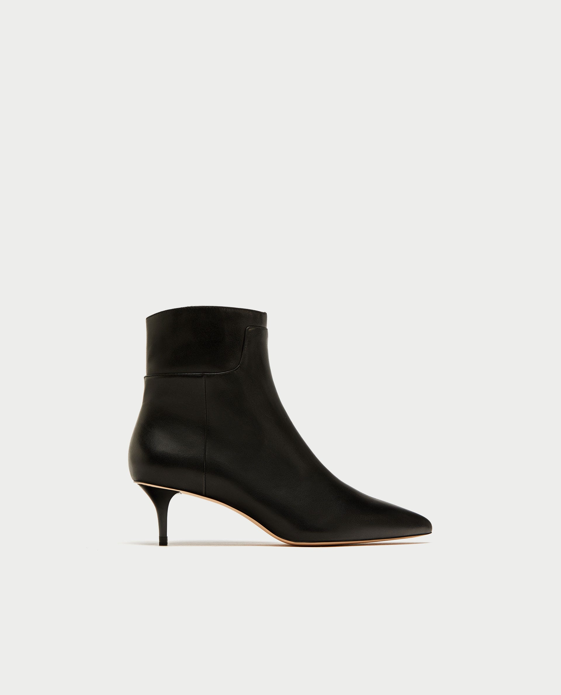 19fc992470a Mid-Heel Leather Ankle Boots