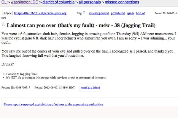 Craigslist Washington Dc Personals >> Washington Dc Craigslist Ads Funny Missed Connections