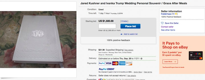 Buy Ivanka Trump Jared Kushner Personal Items On EBay