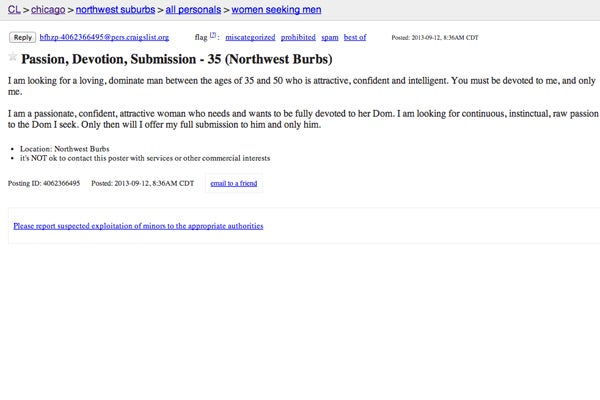 Chicago Craigslist Personal Ads
