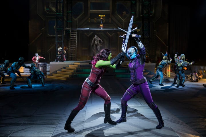 Taylor Castriota (left) performs as Gamora