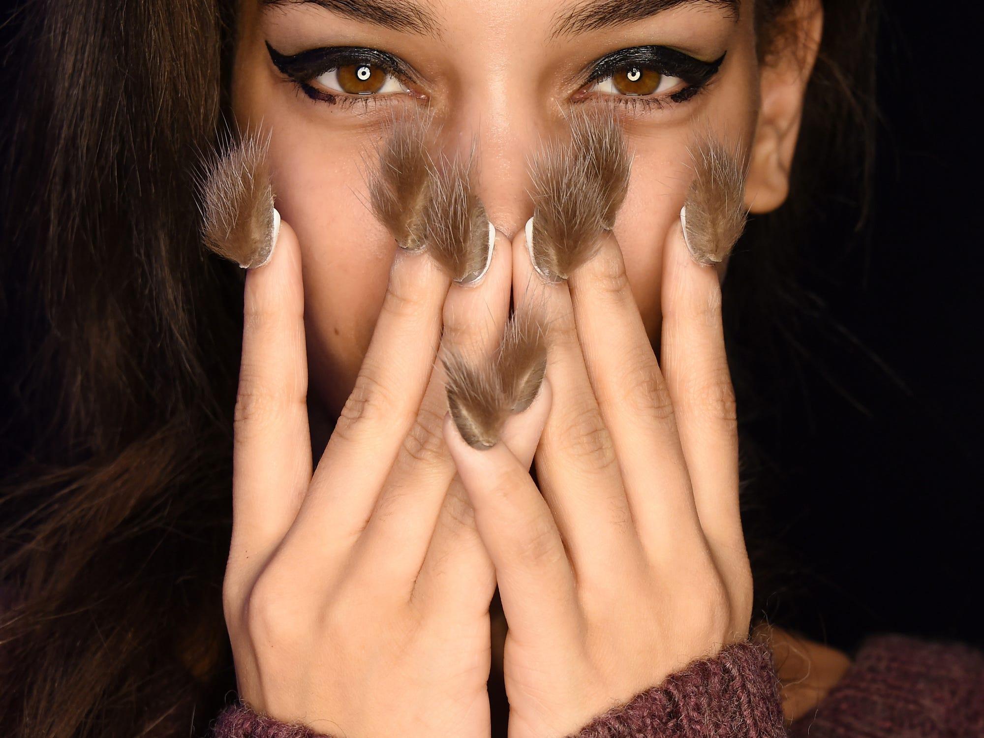 Furry Nails At New York Fashion Week