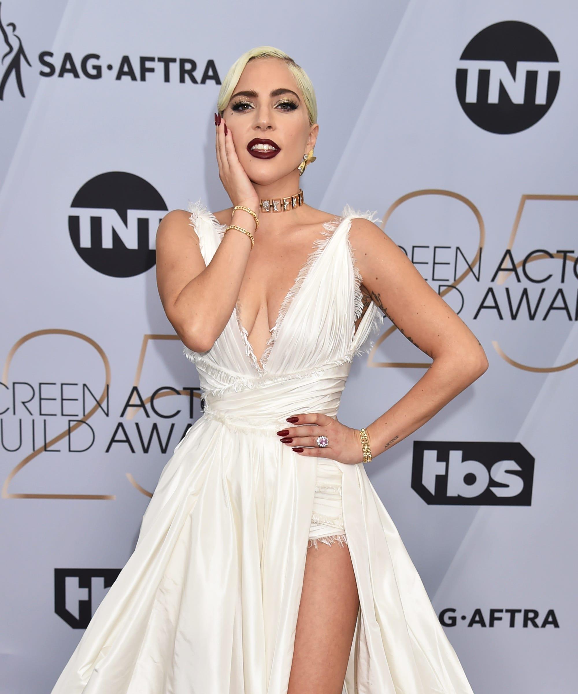 d318cc0aead Lady Gaga Sexy White Dress Wows All At 2019 SAG Awards