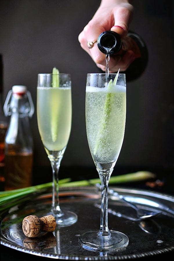 champagne or prosecco cocktails christmas drinks