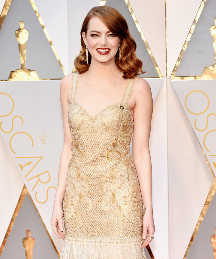Emma Stone Blue Pin Meaning Oscars Dress Support ACLU
