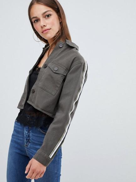 74dc84b86 Cropped Side Stripe Jacket