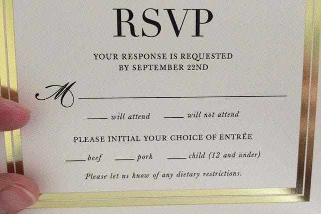 Child Free Weddings And We Re Completely Behind Having One If That S What You Your Partner Want To Do However This Hilarious Wedding Rsvp Card