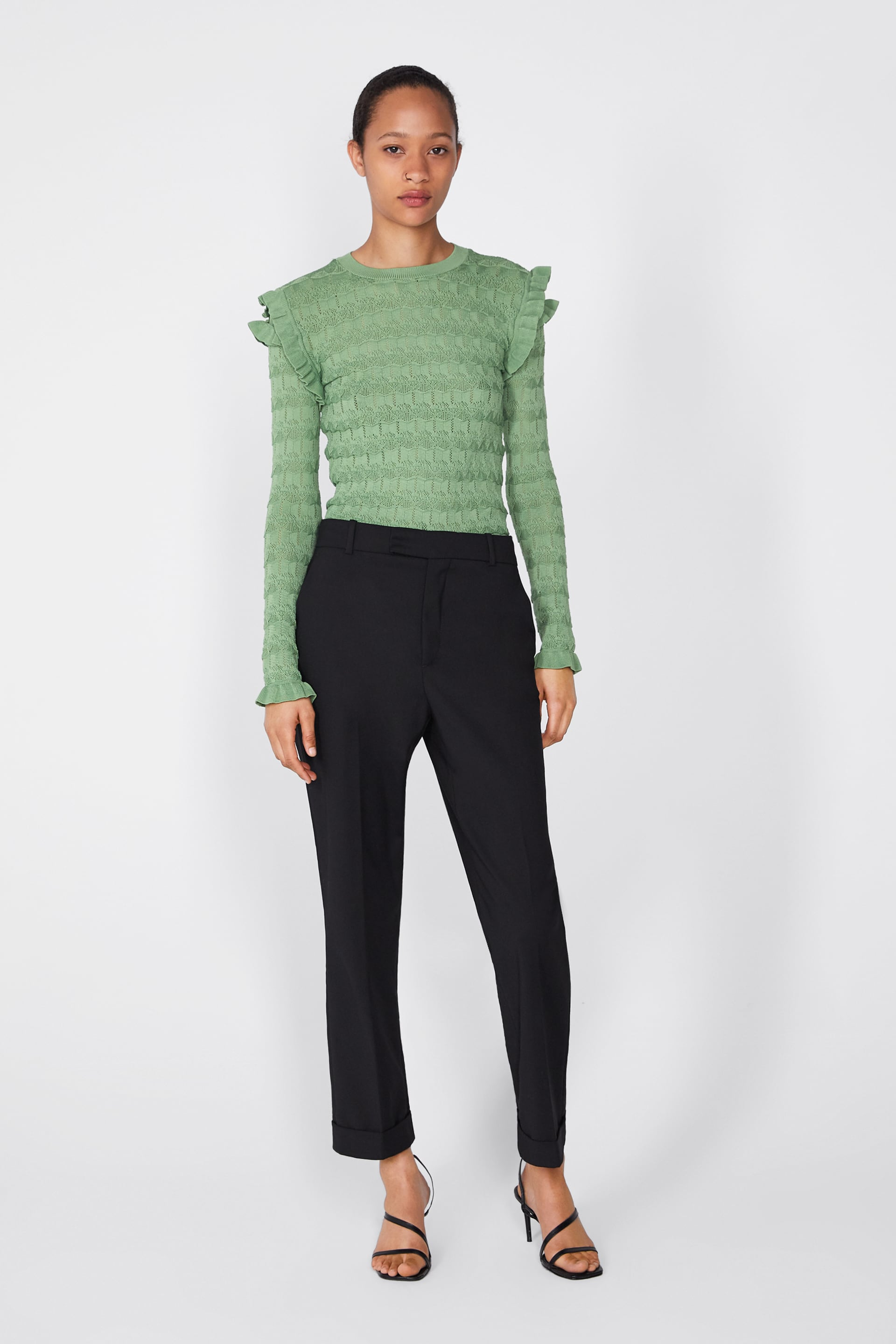 d0c4c36a92 Textured Weave Sweater With Ruffles
