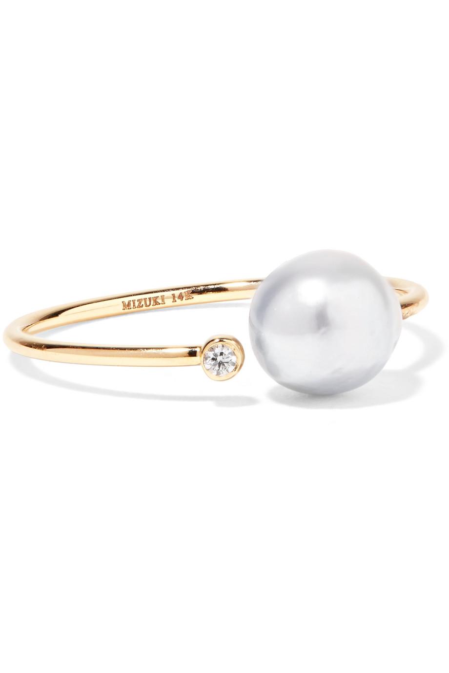 Pearl Wedding Rings.14 Karat Gold Diamond And Pearl Ring