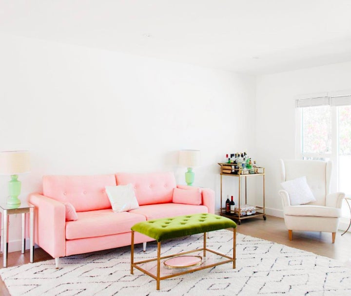 You Have To See This Ikea Sofa S Millennial Pink Makeover