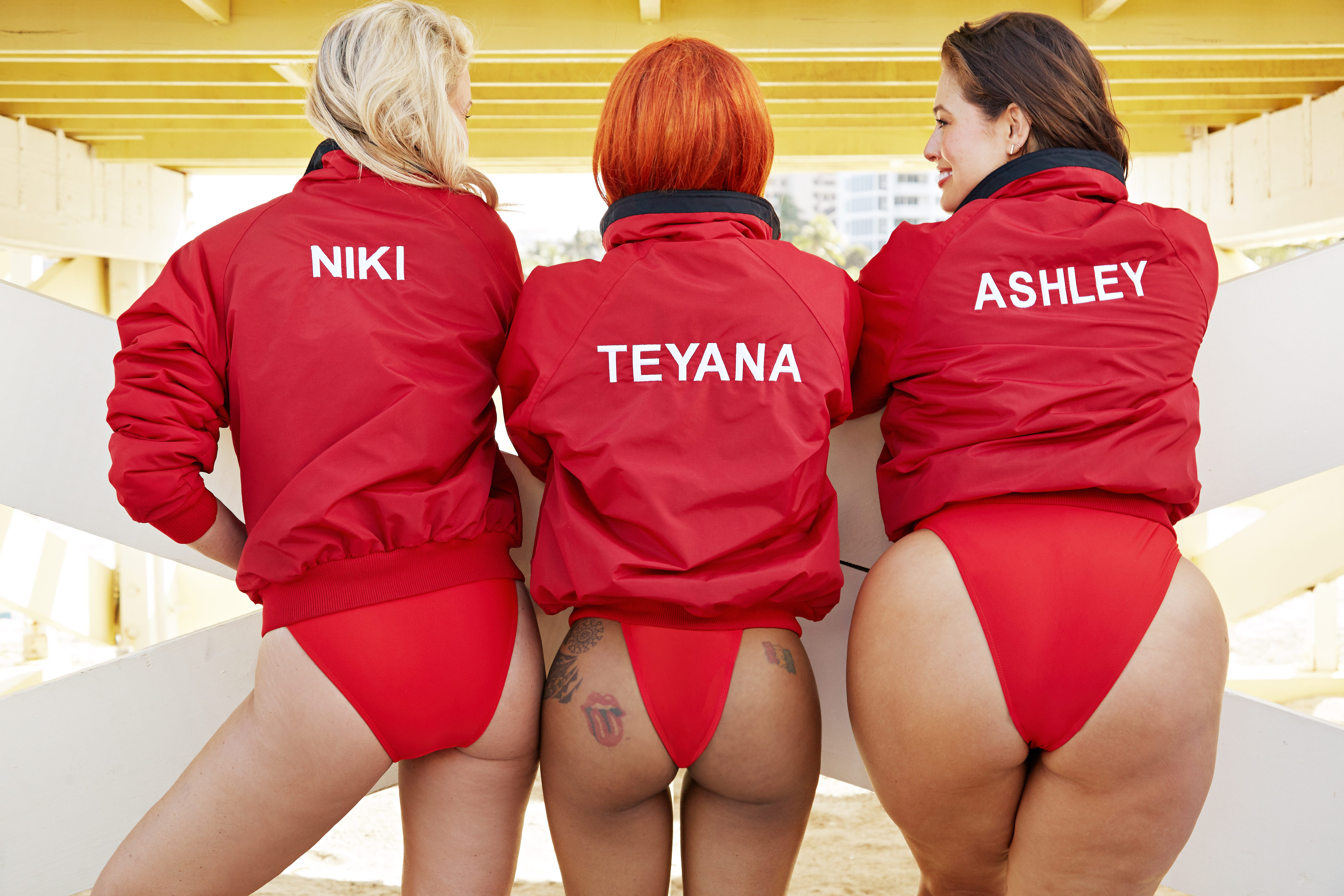 c0911462387 Ashley Graham Baywatch Red Swimsuits for All Photos