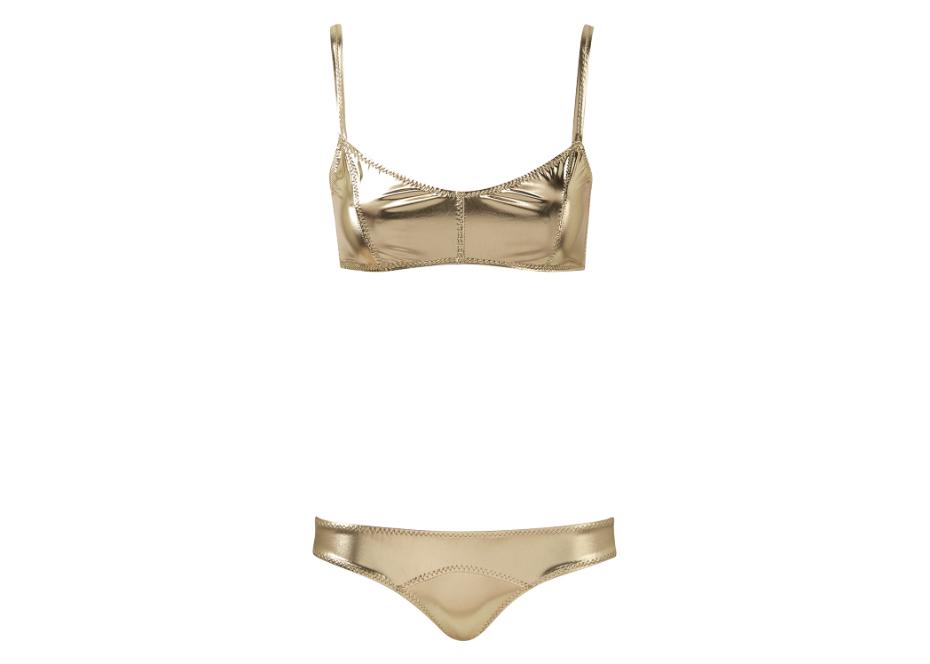 7ebeec6e783f3 Lisa Marie Fernandez. Genevieve White Gold Metallic Pvc Bikini