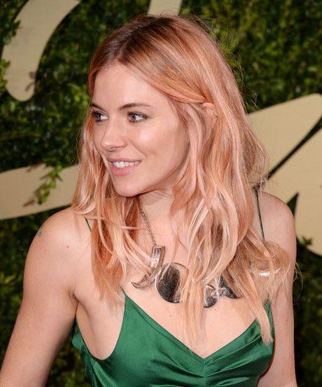 Sienna Miller Pink Rose Gold Hair