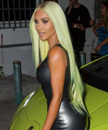 Kim Kardashian Pulls A Cardi B And Dyes Her Hair To Match Lamborghini