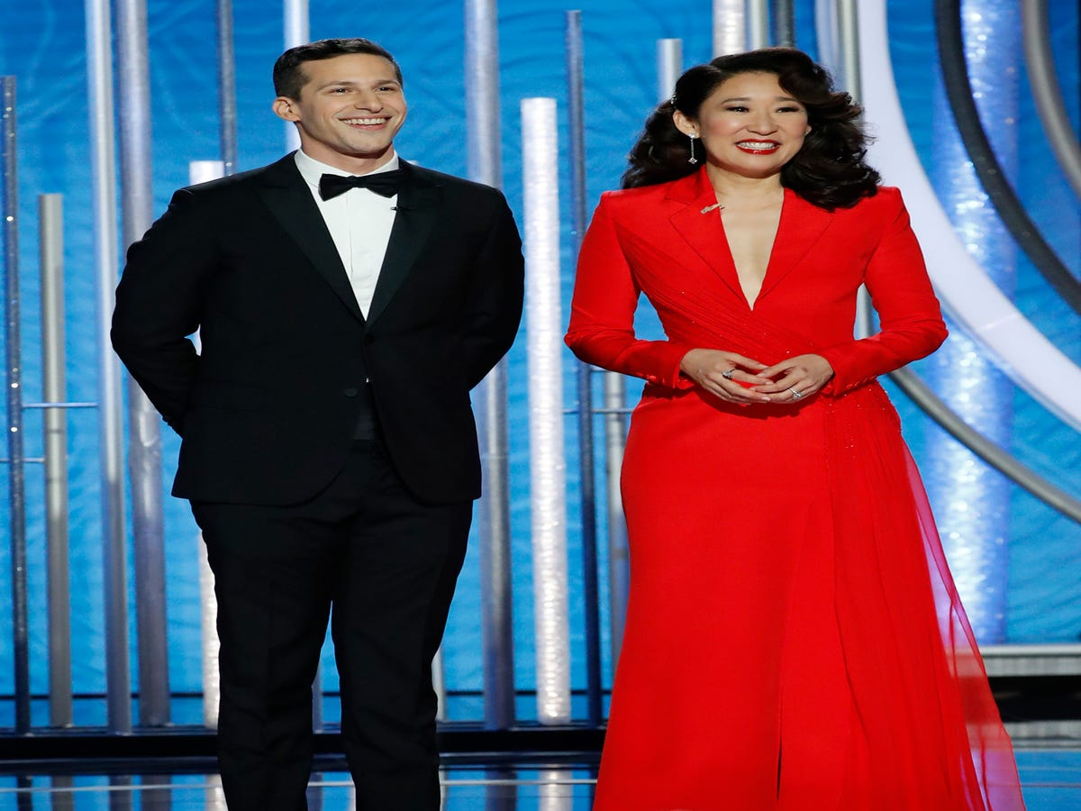 Sandra Oh & Andy Samberg  Slammed Everyone In Hollywood  In Their Amazing Golden Globes Monologue