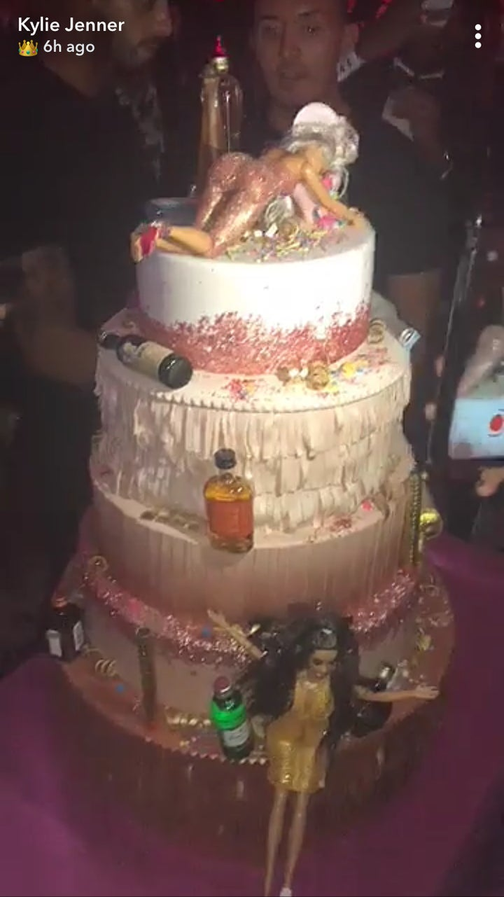 Jenners 21st Birthday Cake Was Well We Guess You Would Call It Drinking Themed Arranged Among The Five Sparkle Strewn Tiers Were Several Different