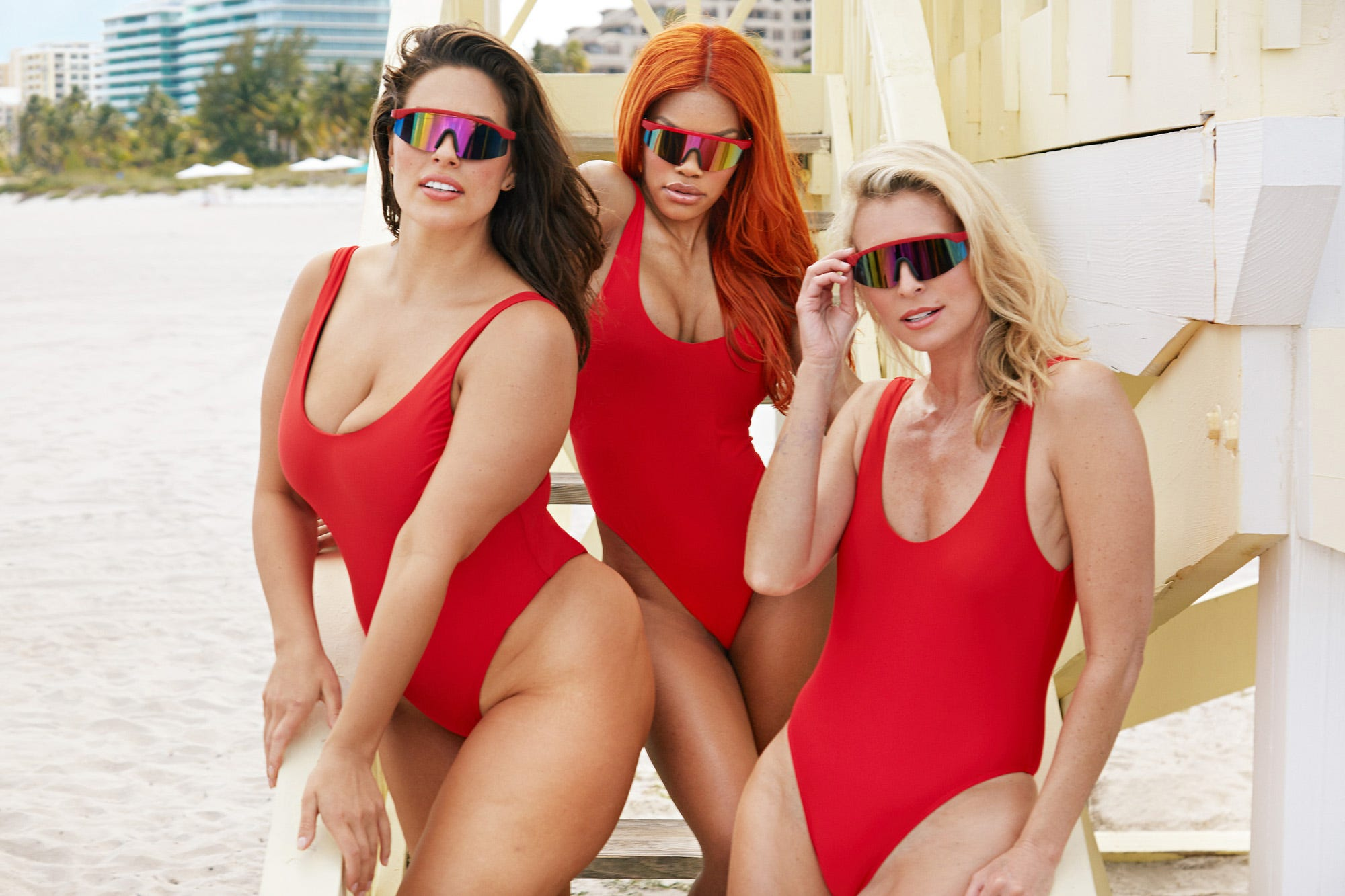 e689dfd9b9dee Ashley Graham Baywatch Red Swimsuits for All Photos