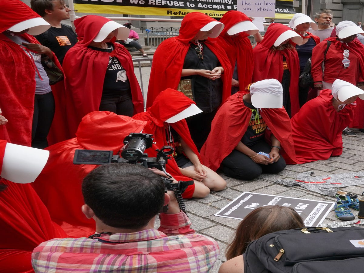 Handmaids Gather To Protest Mike Pence s New York City Visit