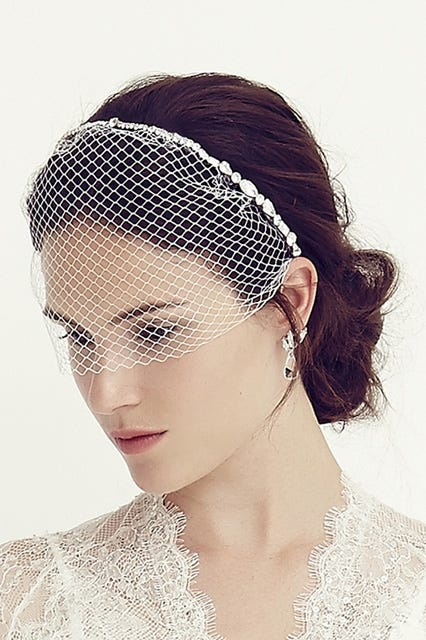 For A Little Extra Sparkle On Your Day Go Birdcage Veil Decorated In Clear Crystals