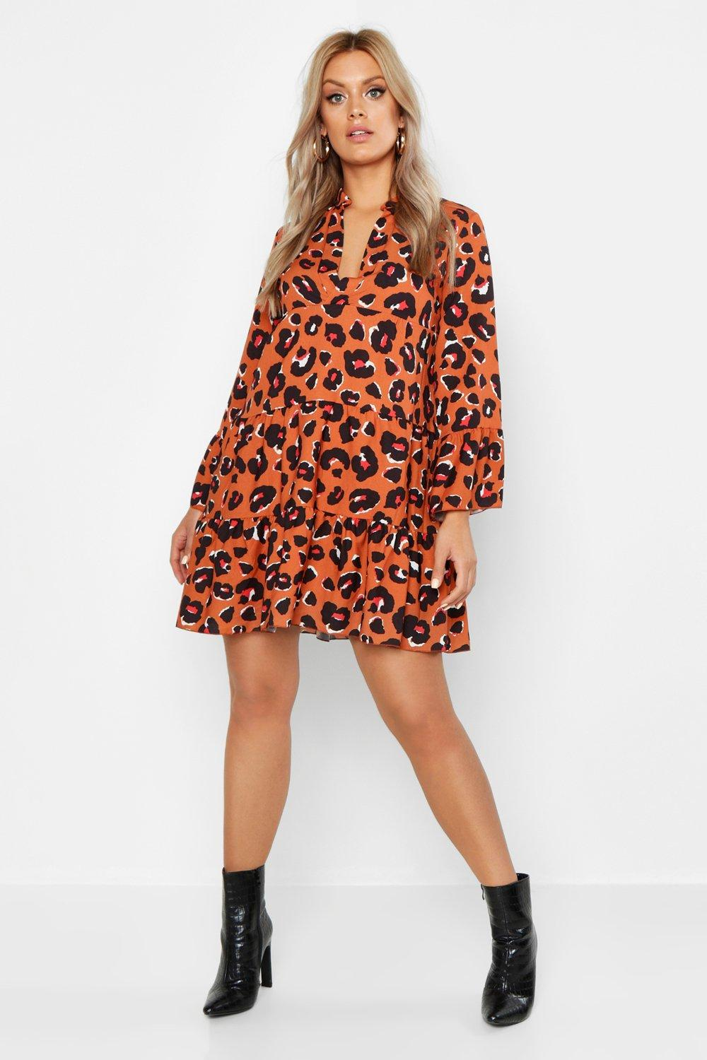 Leopard Smock Dress - Sizes 12 - 20