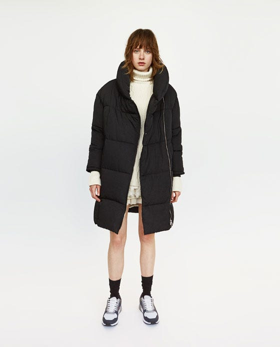 reasonable price new & pre-owned designer on feet at Long Puffer Coat with Crossover Zip