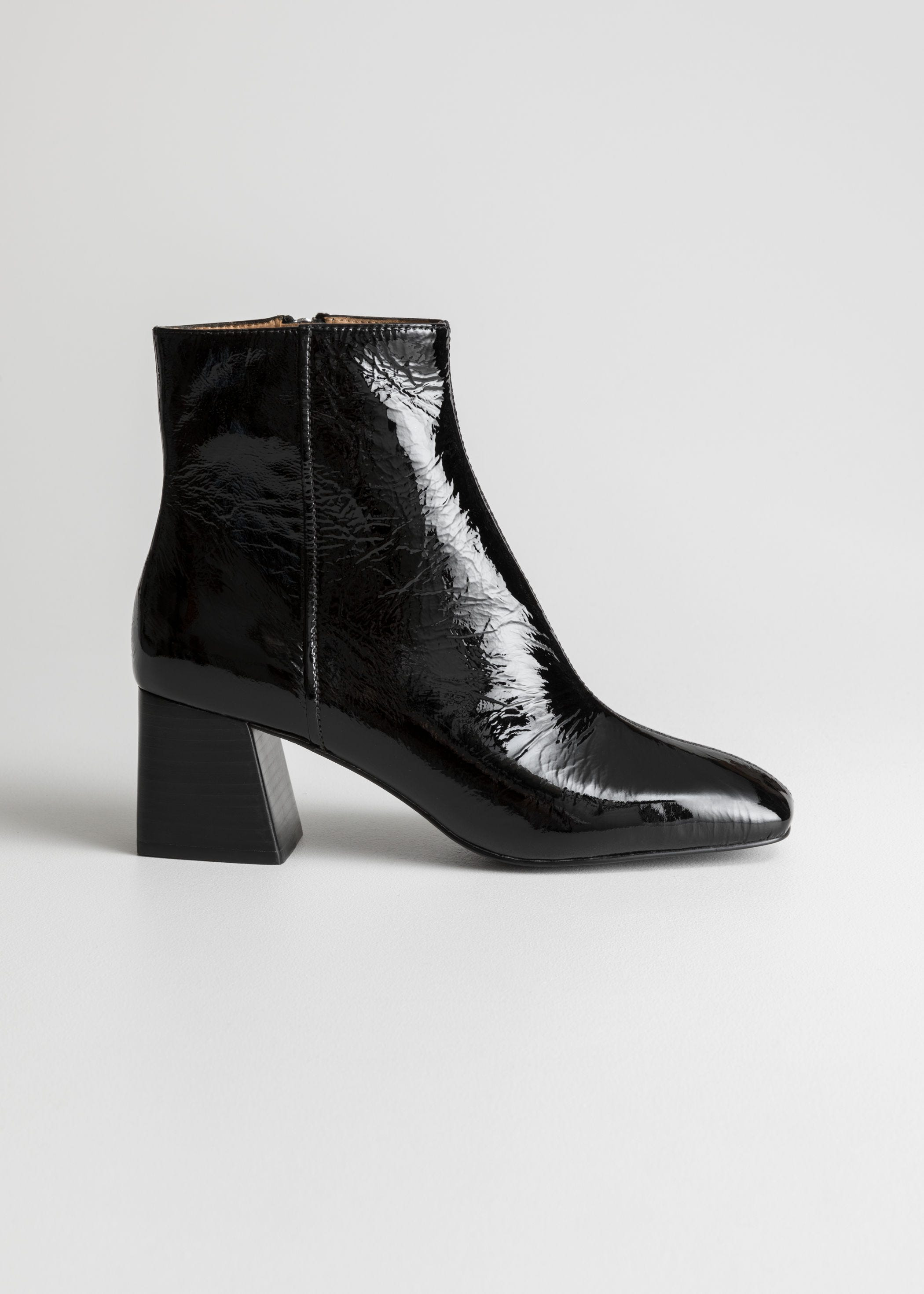 2f7a98979c8 Patent Square Toe Ankle Boots