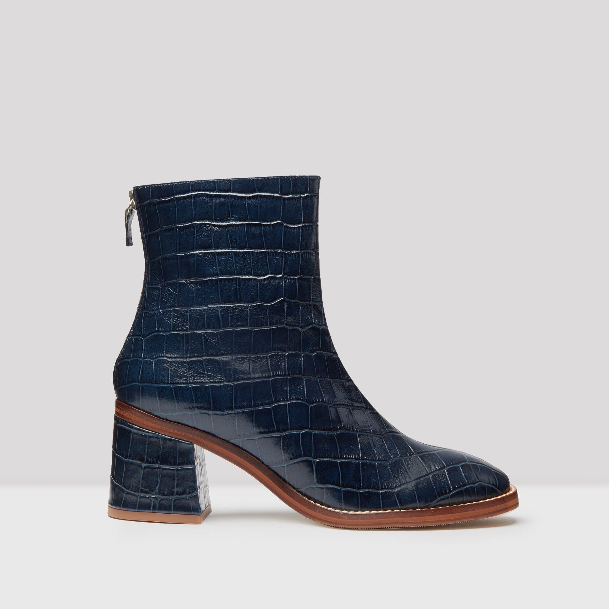 66391732979bc Cybil Navy Croc Glossed Leather Boots