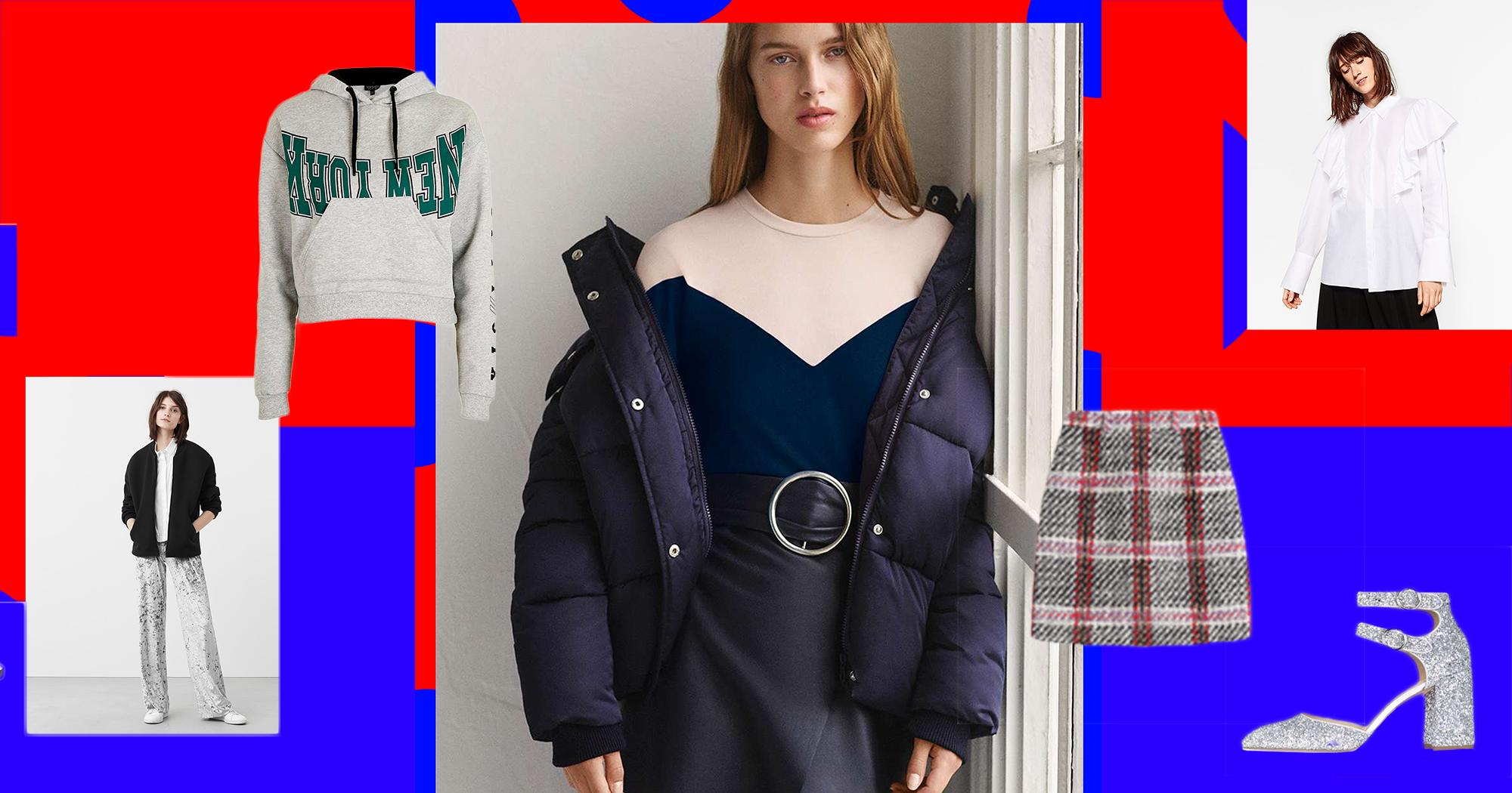 Outfit Collage aus silberner Strickjacke, weiße Hose, Pumps