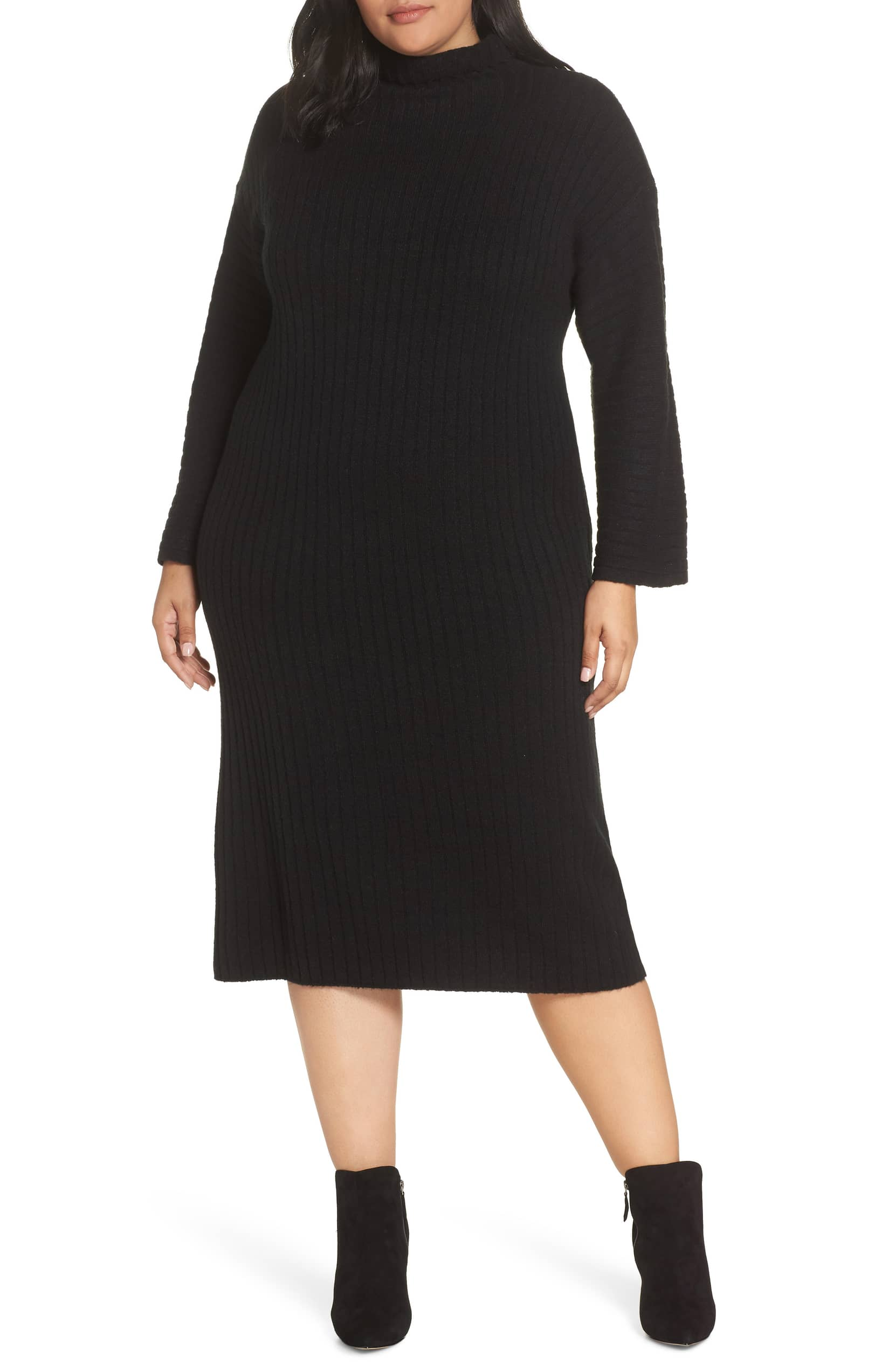 0119245b2 Leith + Plus Size Ribbed Midi Sweater Dress